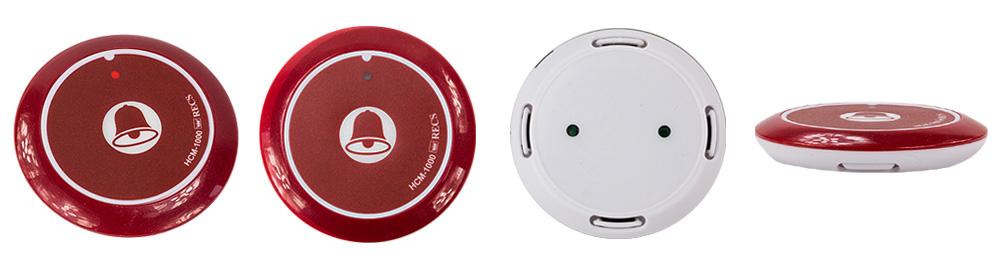 Фото Красная кнопка вызова официанта и персонала HCM-1000 Bell Red RECS -  общий вид, вид сбоку, сверху и снизу