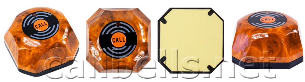 Фото Коричневая кнопка вызова официанта и персонала HCM-110 Wood RECS -  общий вид, вид сбоку, сверху и снизу